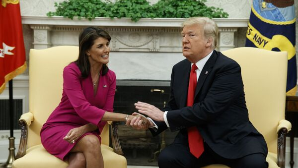 President Donald Trump meets with outgoing U.S. Ambassador to the United Nations Nikki Haley in the Oval Office of the White House, Tuesday, Oct. 9, 2018, in Washington - Sputnik International
