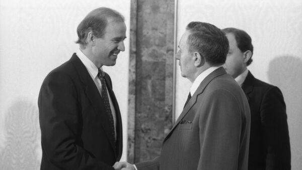 A visit by US Senator Joe Biden to the USSR. US Senator representing Delaware and member of the U.S. Senate Committee on Foreign Relations, Joe Biden, left, and Presidium of the Supreme Soviet of the USSR Andrei Gromyko during their meeting at the Kremlin. - Sputnik International