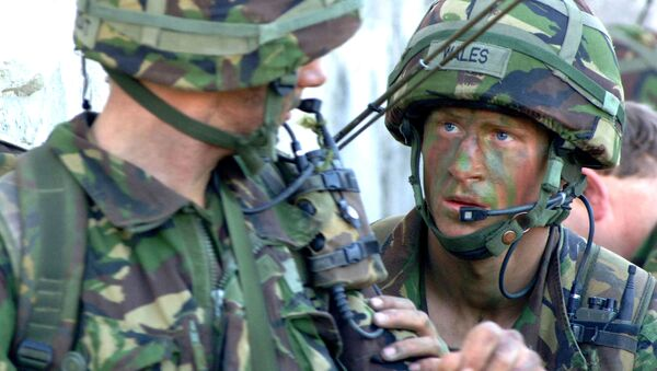 In this picture released by Ministry of Defence in London, Tuesday April 11, 2006, Britain's Prince Harry, right, takes part in his final training exercise, in Cyprus, in March 2006 - Sputnik International
