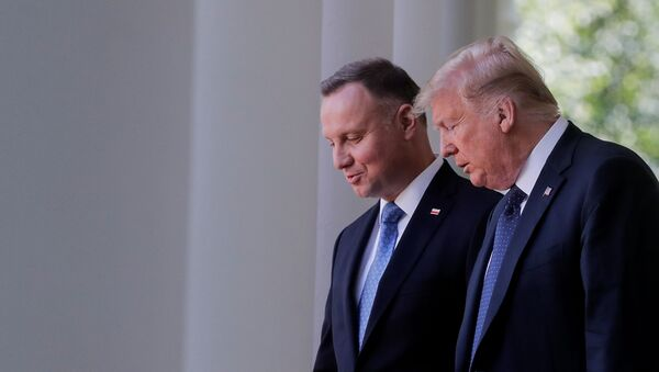 U.S. President Donald Trump arrives for a joint news conference with Poland's President Andrzej Duda in the Rose Garden at the White House in Washington, U.S., June 24, 2020. - Sputnik International