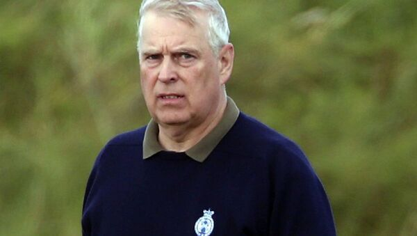 Britain's Prince Andrew, center, attends the Duke of York Young Champions Trophy at the Royal Portrush Golf Club in County Antrim, Northern Ireland, Monday, Sept. 9, 2019 - Sputnik International