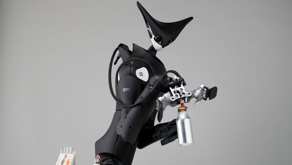 Telexistence's shelf-stacking avatar robot, designed to resemble a kangaroo and developed to work in a convenience store, is demonstrated during a photo opportunity ahead of its unveiling in Tokyo, Japan July 3, 2020. - Sputnik International