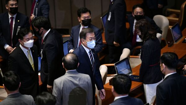 South Korea's President Moon Jae-in leaves after a speech during the opening ceremony of the 21st National Assembly, in Seoul, South Korea July 16, 2020 - Sputnik International