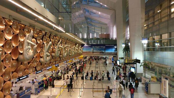 Sculpture of hasta mudras or hand gestures at Terminal 3 of Indira Gandhi International Airport in New Delhi, India - Sputnik International
