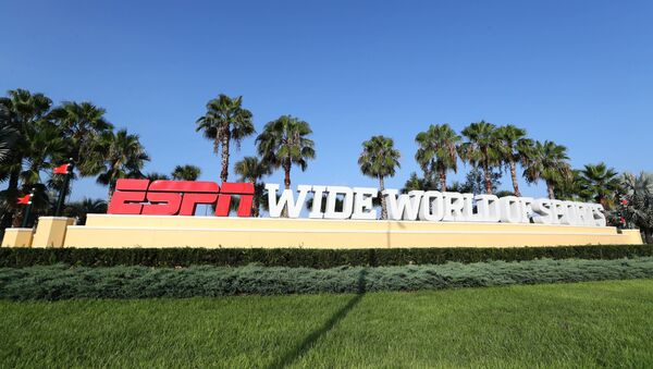 Jul 14, 2020; Orlando, FL, USA;   Detail view of the entrance of ESPN Wide World of Sports  where they are hosting the NBA and MLS games for the summer due to COVID-19. - Sputnik International
