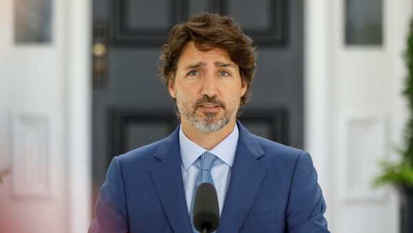 Canada's Prime Minister Justin Trudeau attends a news conference at Rideau Cottage, as efforts continue to help slow the spread of the coronavirus disease (COVID-19), in Ottawa, Ontario, Canada July 13, 2020. - Sputnik International