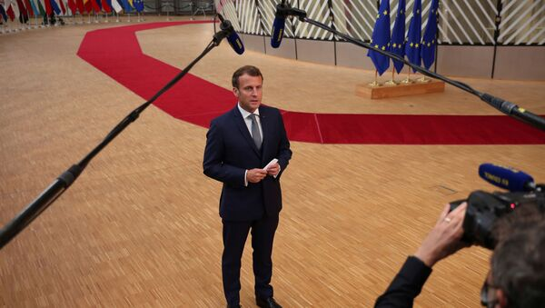 France's President Emmanuel Macron makes a statement as he arrives for the first face-to-face EU summit since the coronavirus disease (COVID-19) outbreak, in Brussels, Belgium July 17, 2020 - Sputnik International