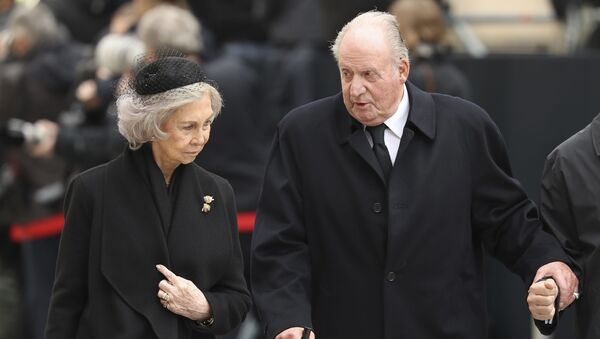 In this Saturday, May 4, 2019 file photo, Spain's emeritus King Juan Carlos, right, and emeritus Queen Sofia leave the Notre Dame cathedral after attending at the funeral of the Grand Duke Jean of Luxembourg, in Luxembourg.  - Sputnik International