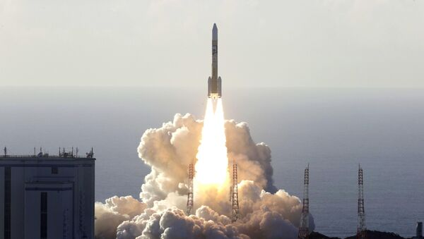 An H-2A rocket carrying the Hope Probe, developed by the Mohammed Bin Rashid Space Centre (MBRSC) in the United Arab Emirates (UAE) for the Mars explore, lifts off from the launching pad at Tanegashima Space Center on the southwestern island of Tanegashima, Japan, in this photo taken by Kyodo July 20, 2020. - Sputnik International