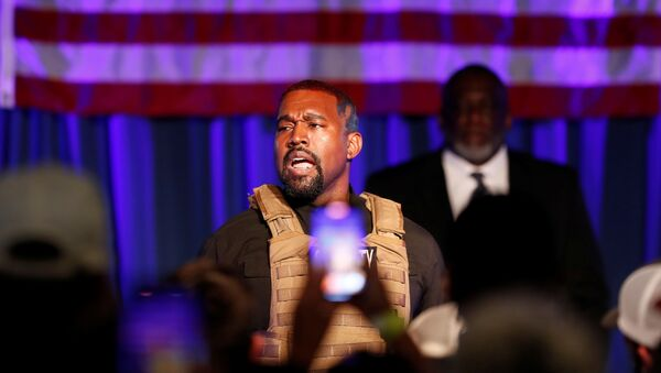 Rapper Kanye West holds his first rally in support of his presidential bid in North Charleston, South Carolina, U.S. July 19, 2020. - Sputnik International