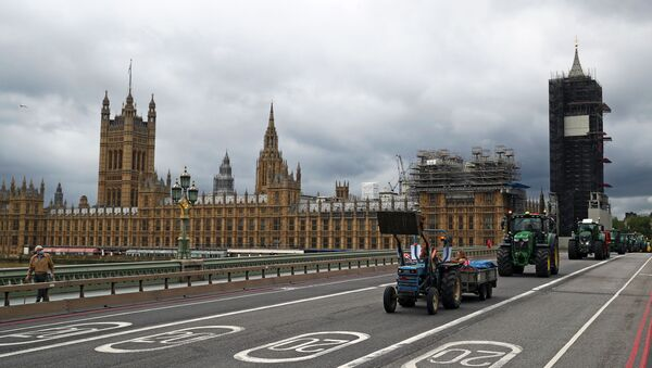Farmers ride tractors during a demonstration, next to the Houses of Parliament in Westminster in London, Britain, July 8, 2020 - Sputnik International