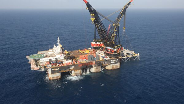 An aerial view shows the foundation platform of Leviathan natural gas field, in the Mediterranean Sea, off the coast of Haifa, Israel January 31, 2019 - Sputnik International
