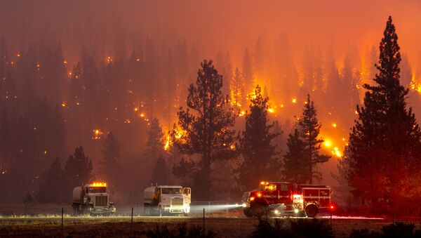 In this long exposure photograph, firefighters mop up hot spots from the Hog fire along Highway 36 about 5 miles from Susanville, California on July 20, 2020 - Sputnik International