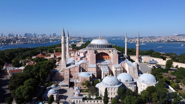 Hagia Sophia or Ayasofya, a UNESCO World Heritage Site, that was a Byzantine cathedral before being converted into a mosque which is currently a museum, is seen in Istanbul, Turkey, June 28, 2020 - Sputnik International
