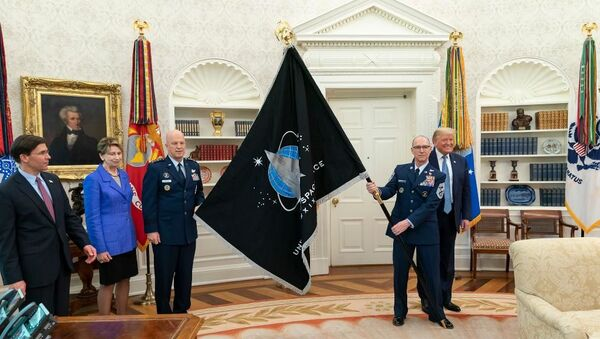 Presentation of the Space Force flag at the Oval Office, May 17, 2020. - Sputnik International