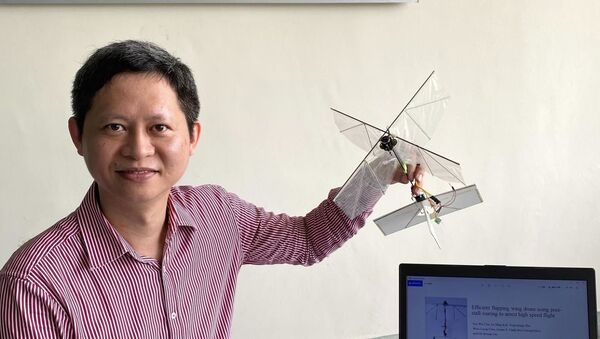 Mechanical engineer Associate Professor Gih-Keong Lau pictured with the drone prototype. Credit: National Chiao Tung University - Sputnik International