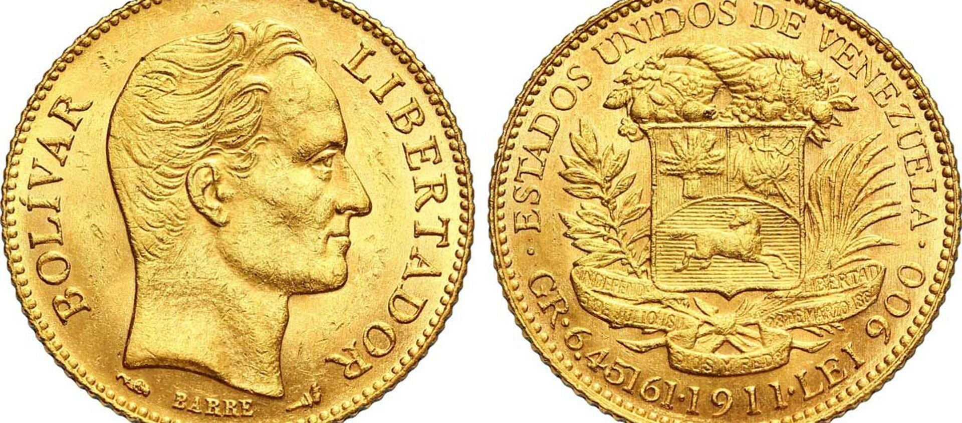1911 gold 20 bolivares coin featuring the face of Simon Bolivar, a Venezuelan political leader and general who led much of Latin America to independence from the Spanish Empire. - Sputnik International, 1920, 20.07.2021