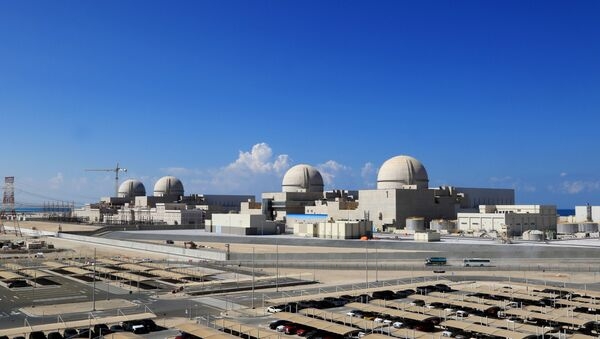A file photo taken on November 12, 2019 as a handout picture obtained from the media office of the Barakah Nuclear Power Plant on February 13,  shows a general view of the power plant in the Gharbiya region of Abu Dhabi on the Gulf coastline about 50 kilometres west of Ruwais. - Sputnik International