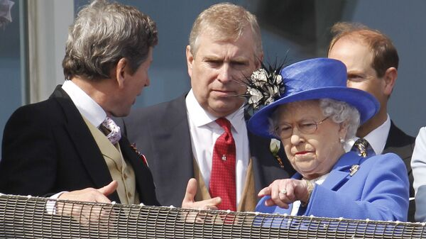 Britain's Queen Elizabeth II, right, talks to her son Prince Andrew, center, as she looks out from the balcony at the end of the Epsom Derby horse race at Epsom racecourse,  England at the start of a four-day Diamond Jubilee celebration to mark the 60th anniversary of  Queen Elizabeth II accession to the throne, Saturday, June 2, 2012 - Sputnik International