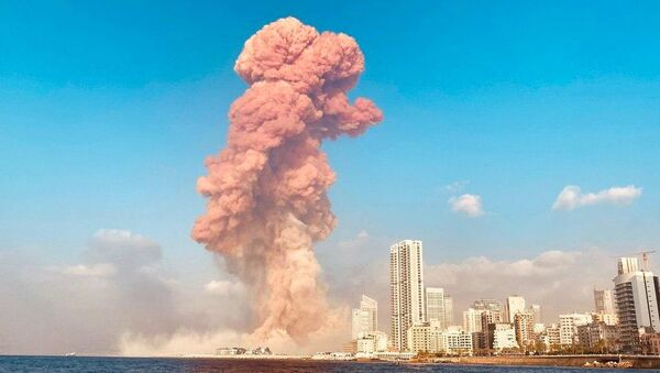 A picture shows the scene of an explosion in Beirut, Lebanon. A large explosion rocked the Lebanese capital Beirut. The blast, which rattled entire buildings and broke glass, was felt in several parts of the city. - Sputnik International
