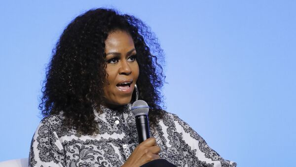 In this Dec. 12, 2019, file photo, former first lady Michelle Obama speaks during an event for Obama Foundation in Kuala Lumpur, Malaysia. - Sputnik International