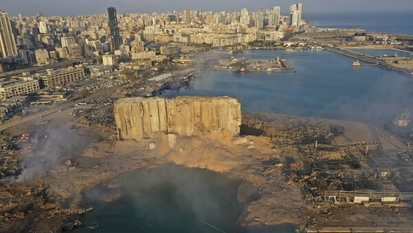 A drone picture shows the scene of an explosion that hit the seaport of Beirut, Lebanon, Wednesday, Aug. 5, 2020. - Sputnik International