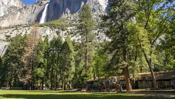 In this May 27, 2020, photo provided by the National Park Service, Yosemite Valley School, lower right, stands in Yosemite National Park, Calif. In the background is Upper Yosemite Falls. - Sputnik International