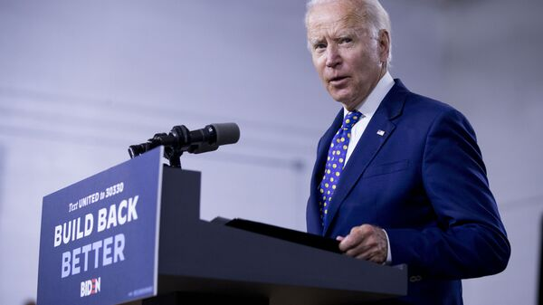 In this July 28, 2020, file photo, Democratic presidential candidate former Vice President Joe Biden speaks at a campaign event at the William Hicks Anderson Community Center in Wilmington, Del. - Sputnik International