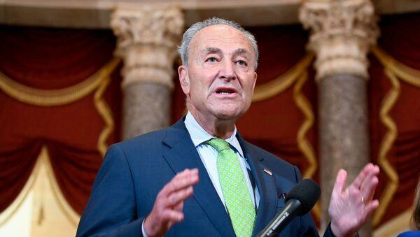 U.S. Senate Minority Leader Chuck Schumer, joined by Speaker of the House Nancy Pelosi, speaks to reporters in the U.S. Capitol in Washington, U.S. July 29, 2020.  - Sputnik International