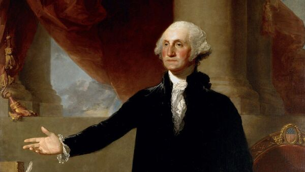 This undated file photo of a 1796 Gilbert Stuart oil on canvas painting portrays George Washington, founding father and first president of the United States. With nearly 60,000 acres and more than 300 slaves, Washington is considered the big daddy of presidential wealth, with estimated wealth equivalent in 2010 to $525 million dollars, according to research by 24/7 Wall St., a news and analysis website. Yet Washington had to borrow money to pay for his trip to New York for his inauguration in 1789, according to Dennis Pogue, vice president for preservation at Mount Vernon, Washington's Virginia estate. His money was tied up in land, reaping only a modest cash income after farm expenses. - Sputnik International