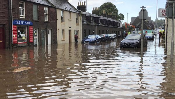 Flooding in Stonehaven, Scotland, Wednesday Aug. 12, 2020, where a nearby train is reported to have derailed - Sputnik International
