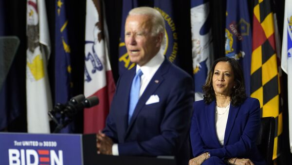 Democratic presidential candidate former Vice President Joe Biden speaks during a campaign event with his running mate Sen. Kamala Harris, D-Calif., at Alexis Dupont High School in Wilmington, Del., Wednesday, Aug. 12, 2020. (AP Photo/Carolyn Kaster) - Sputnik International