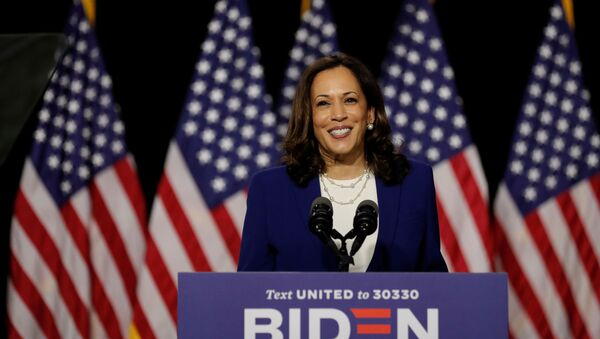 Democratic vice presidential candidate Senator Kamala Harris speaks at a campaign event, on her first joint appearance with presidential candidate and former Vice President Joe Biden after being named by Biden as his running mate, at Alexis Dupont High School in Wilmington, Delaware, U.S., August 12, 2020.  - Sputnik International
