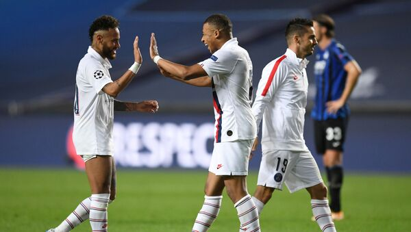 Paris St Germain's Neymar and Kylian Mbappe celebrate after they orchestrated a late comeback to knock out Atalanta. - Sputnik International