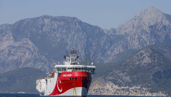 Turkey's research vessel, Oruc Reis, anchored off the coast of Antalya on the Mediterranean, Turkey, Friday, 24 July 2020. - Sputnik International