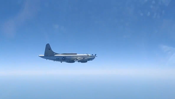 US Navy EP-3E Aries II filmed from the cockpit of the Russian Sukhoi Su-27 fighter jet sent to intercept it, Saturday, August 15, 2020. - Sputnik International