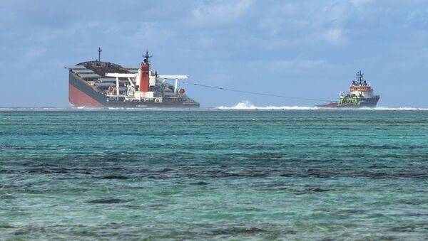 A picture taken on August 15, 2020 near Blue Bay Marine Park, shows the vessel MV Wakashio, belonging to a Japanese company but Panamanian-flagged, that ran aground near Blue Bay Marine Park off the coast of south-east Mauritius. - Sputnik International