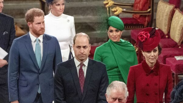 In this Monday, March 9, 2020 file photo, from left, Britain's Prince Harry, Prince William, Meghan Duchess of Sussex and Kate, Duchess of Cambridge leave the annual Commonwealth Service at Westminster Abbey in London - Sputnik International