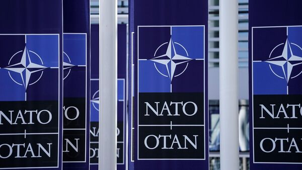 A picture taken on November 20, 2019 shows  NATO flags at the NATO headquarters in Brussels, during a NATO Foreign Affairs ministers' summit. - Sputnik International