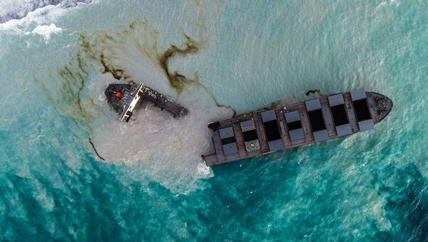 This aerial picture taken on August 16, 2020, shows the MV Wakashio bulk carrier that had run aground and broke into two parts near Blue Bay Marine Park, Mauritius - Sputnik International