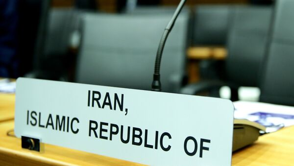 A sign marks the seat of Iran's ambassador to the International Atomic Energy Agency (IAEA) ahead of a board of governors meeting at the IAEA headquarters in Vienna, Austria March 9, 2020. - Sputnik International