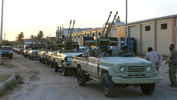 Military vehicles of members of the Libyan internationally recognised government forces in Misrata - Sputnik International