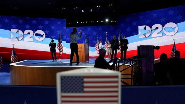 The stage is set up for Democratic vice president nominee Kamala Harris in Wilmington, Delaware - Sputnik International