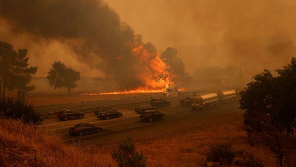 Vehicles are seen along Interstate 80 as flames from the LNU Lighting Complex Fire are seen on both sides on the outskirts of Vacaville, California, U.S. August 19, 2020 - Sputnik International