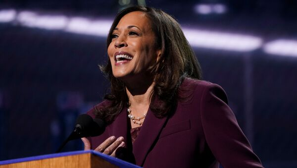 U.S. Senator Kamala Harris (D-CA) accepts the Democratic vice presidential nomination during an acceptance speech delivered for the largely virtual 2020 Democratic National Convention from the Chase Center in Wilmington, Delaware, U.S., August 19, 2020 - Sputnik International