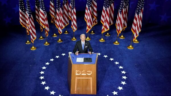 Former U.S. Vice President Joe Biden accepts the 2020 Democratic presidential nomination during a speech delivered for the largely virtual 2020 Democratic National Convention from the Chase Center in Wilmington, Delaware, U.S., August 20, 2020.  - Sputnik International
