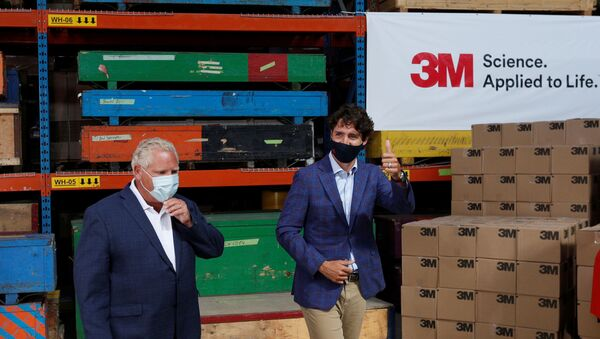 Canada's Prime Minister Justin Trudeau and Ontario Premier Doug Ford at the 3M's plant in Brockville, Ontario - Sputnik International
