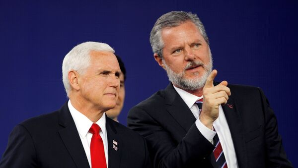 FILE PHOTO: Liberty University President Jerry Falwell Jr. and U.S. Vice President Mike Pence prepare to leave at the end of the school's commencement ceremonies in Lynchburg, Virginia, U.S., May 11, 2019.  - Sputnik International