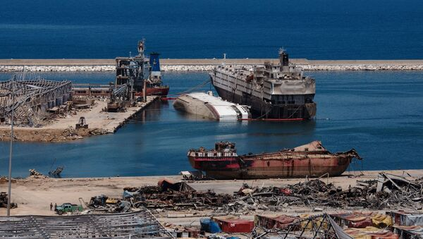 A general view shows the damaged port area in the aftermath of a massive explosion in Beirut, Lebanon, August 17, 2020. - Sputnik International