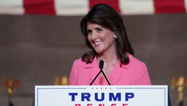 Former US Ambassador to the United Nations Nikki Haley speaks to the largely virtual 2020 Republican National Convention in a live address from Washington, DC, 24 August 2020.   - Sputnik International